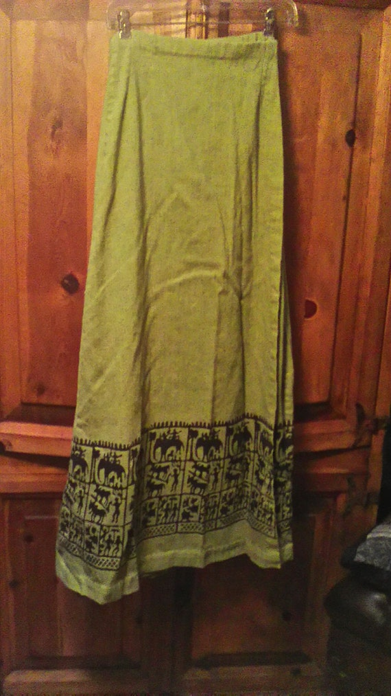 40s Indian Nights Linen Wrap Skirt