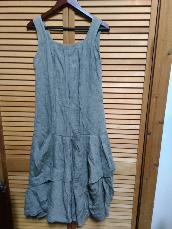 NWOT Linen Lagenlook Gray Linen Dress Made In Fran