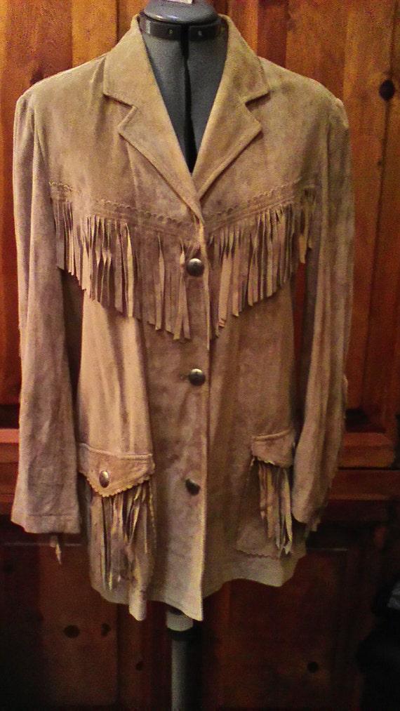 Vtg. 90s Ralph Lauren Fringed Leather Jacket