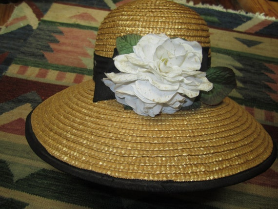 Vintage Straw Hat With Flower