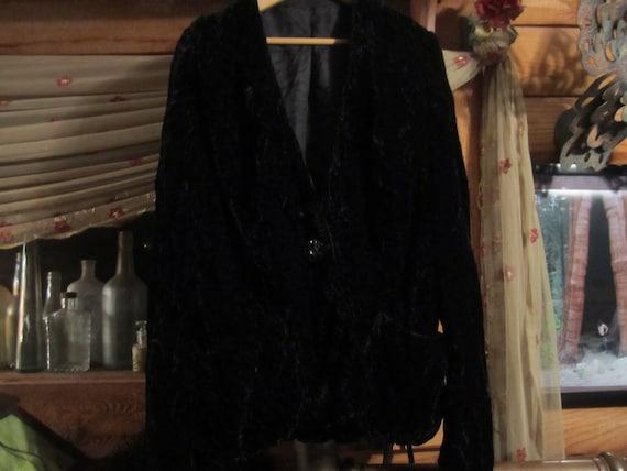 Vintage Black Crushed Velvet Jacket 1950s