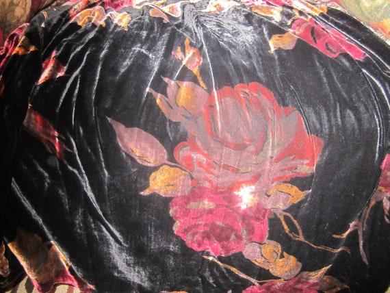 Vintage  90s Laura Ashley Flowered Velvet Skirt S… - image 2