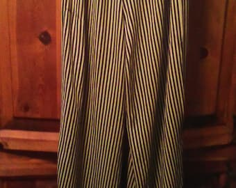 80s Rayon Striped Palazzo Pants Size M. Drawstring Waist Sold As Is
