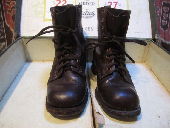Vintage Military Square Toed Boots