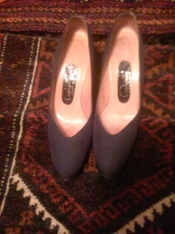 vtg pappagallo black fabric heels size 6.5 narrow