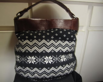 Faux Leather WIth Sweater Like Fabric Purse
