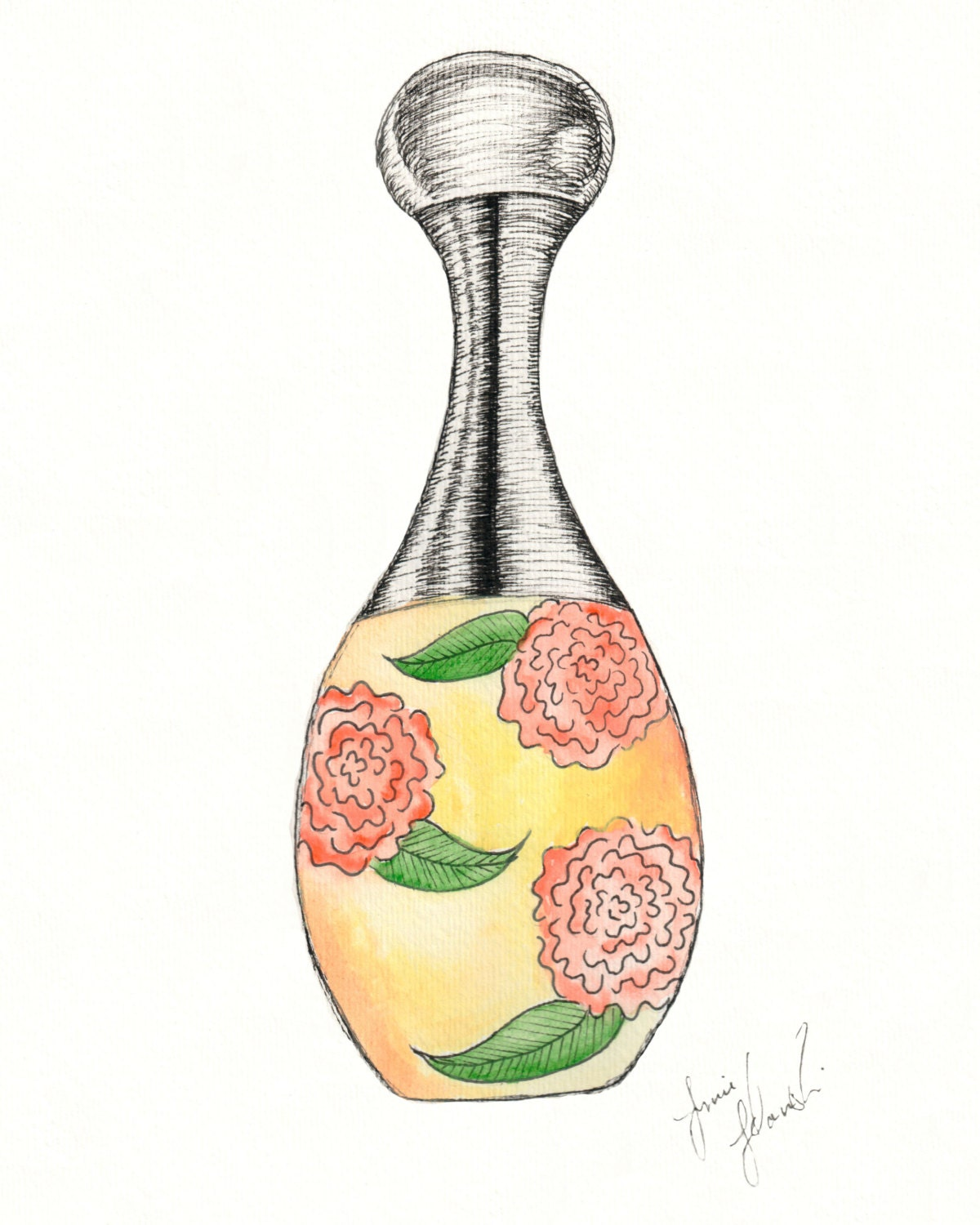 What Does J Adore Perfume Smell Like: J'adore Dior Perfume Drawing Print Pen And Ink With