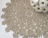 Linen crochet Crochet doily Large lace doily Crocheted doily Round doily Flowers doily Round crochet doily Crochet doilies Table decor
