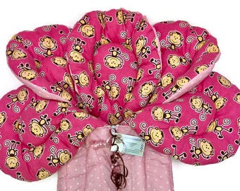b52985172e8 Pink Baby Bunting + Stroller Liner + Baby Quilt + Baby Sleeping Bag + Baby  Gift + Monkey Baby Nursery + Baby Carrier + Pink Dot Bunting Bag