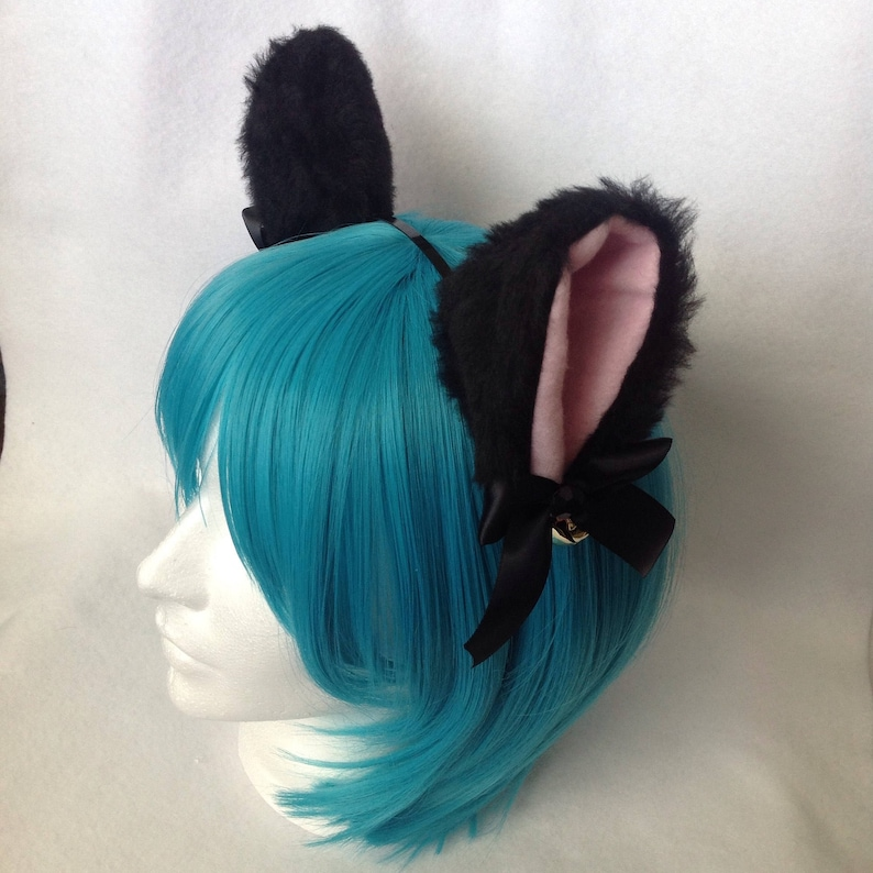 Black Furry Kitty Cat Ears with Ribbon Bells