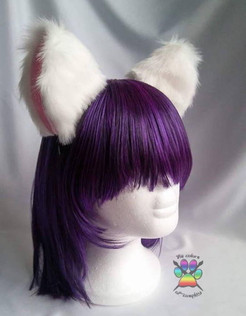 White Pink Fluffy Kitty Cat Headband Girl Cosplay Anime Neko Etsy