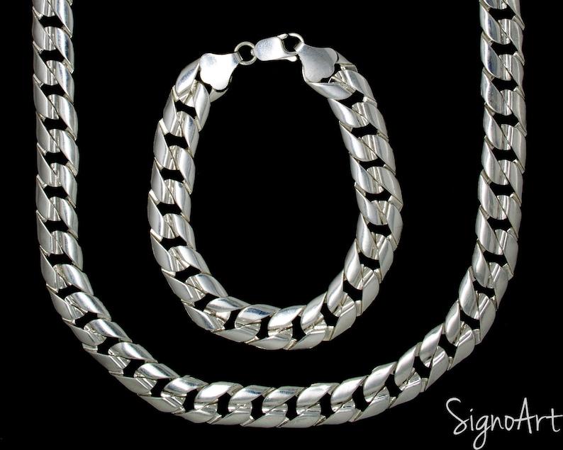 d6cb628f83c8e Heavy Silver Chain x 14mm wide, Mens Necklace Bracelet Set, Cuban Link  Jewelry