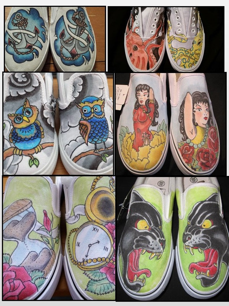 American Traditional Tattoo Style Custom Shoes Panthers Etsy