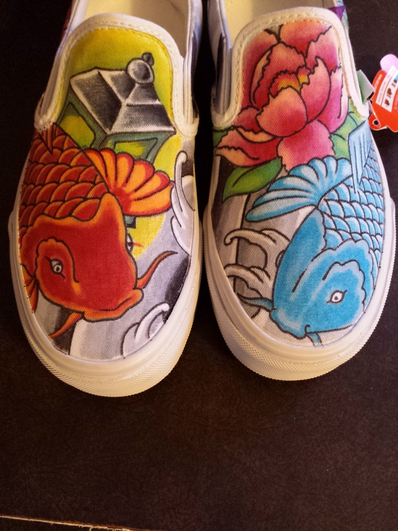 fa6355ad34 Koi fish Custom Japanese Tattoo style hand drawn shoes. These