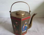 Vintage Chinese Brass Teapot Hexagon Shape with Enamel Figures.