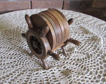Vintage Wooden Boat Wheel Coaster Set.