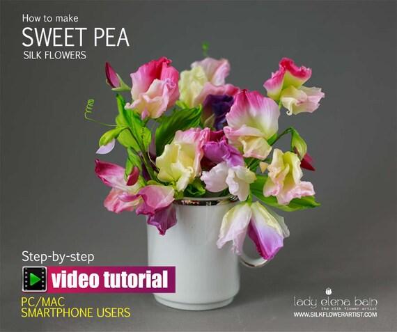 Diy silk flower making video tutorial sweet pea etsy image 0 mightylinksfo