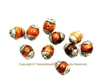 10 BEADS Small Orange Agate Beads with Tibetan Silver Caps - Tibetan Beads Gemstone Beads - Handmade Beads - TibetanBeadStore - B3450-10