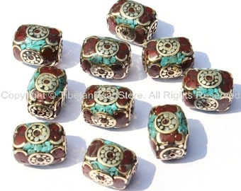 10 Beads - Tibetan Rectangle Box Beads with Brass, Turquoise & Copal Inlays - Unique Ethnic Nepal Tibet Beads - B274