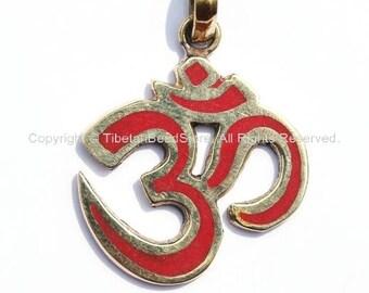 2 PENDANTS - Tibetan Sanskrit OM Pendants with Brass & Coral Inlays - Om Aum Ohm -  Handmade Tibetan Om Yoga Jewelry - WM1172-2