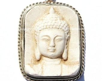 Tibetan White Buddha Pendant - Handmade White Buddha Face Tibetan Pendant - Yoga Meditation Jewelry - WM1298