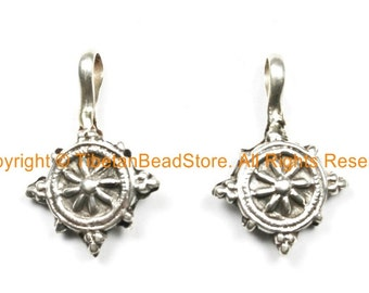 2 SET - 92.5 Sterling Silver Wheel of Dharma Tibetan Bum Counters - Mala Counters - Mala Jewel Counters Handmade Bum Counters - SS8005-2