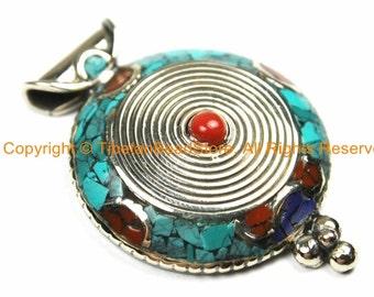 Ethnic Nepal Tibetan Spiral Pendant with Turquoise, Lapis & Coral Inlays - TibetanBeadStore Mosaic Inlay Tibetan Pendant Jewelry - WM7148