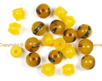 2 SETS - Tibetan Amber Resin Guru Bead Set with Turquoise, Coral Inlays - Tibetan Amber Guru Beads - GB37B-2