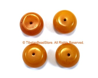 4 BEADS Tibetan Amber Copal Resin Beads - 18mm x 10mm Ethnic Tibetan Amber Resin Beads - Tibetan Bead Store - B3345-4