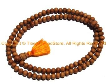 6mm Natural Sandalwood Mala Prayer Beads -108 Beads - Ethnic Nepal Tibetan Mala Beads - Mala Supplies - PB149