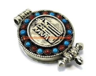 "Tibetan ""KALACHAKRA"" Prayer Box Ghau Amulet Pendant with Turquoise & Coral Inlays - Ethnic Ghau Pendant - Om Aum Ohm - WM7273"