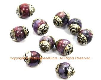 2 BEADS Small Purple Agate Beads with Tibetan Silver Caps - Tibetan Beads Gemstone Beads - Handmade Beads - TibetanBeadStore - B3410-2