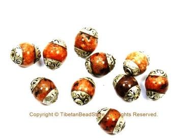 2 BEADS Small Orange Agate Beads with Tibetan Silver Caps - Tibetan Beads Gemstone Beads - Handmade Beads - TibetanBeadStore - B3450-2