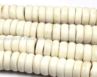 20 BEADS THICK Tibetan Flat Disc Cream Ivory White Bone Beads - 13mm x 5mm Natural Animal Bone Tibetan Beads- TibetanBeadStore-  LPB129-20