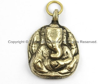 Small Nepalese Tibetan Brass Ganesh Charm Pendant- Brass Charms Yoga Charm Pendant- Ethnic Tribal Nepal Tibet Ganesha Ganesa Charm- WM5905