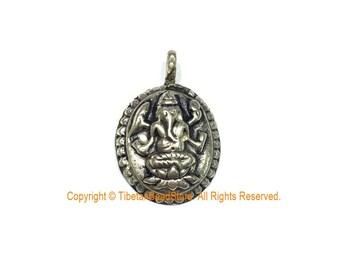 Small Nepalese Tibetan Silver Ganesh Charm Pendant - 4 Armed Ganesh Yoga Pendant- Ethnic Tribal Nepal Tibet Ganesha Ganesa Charm- WM7763