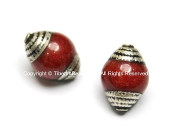 2 BEADS - Ethnic Tibetan Red Jade Beads with Tibetan Silver Caps - TibetanBeadStore Ethnic Nepal Tibetan Artisan Handmade Beads - B1818-2