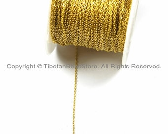 Gold Plated Link Chain 1.5mm x 1mm - 5 FEET- Chains & Findings Jewelry Chains Gold Fill Chains - TibetanBeadStore Jewelry Supplies - CN37-5