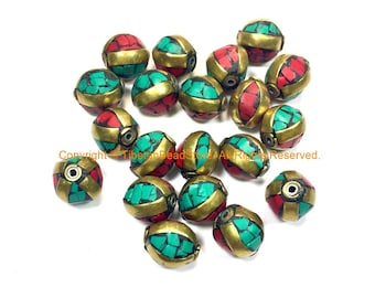 Tibetan Beads - 10 BEADS Turquoise, Coral and Brass Inlaid Beads - Handmade Beads - Inlaid Beads from Nepal - B3235A-10