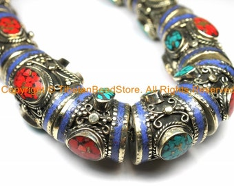 Ethnic Tibetan Nepalese Necklace Jewelry Set Filigree Barrel Beads with Turquoise, Coral & Lapis Inlays - B3107