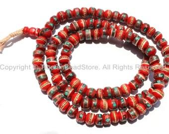 108 BEADS 10mm Tibetan Red Bone Mala Prayer Beads with Brass, Copper, Turquoise & Copal Inlays - Tibetan Prayer Beads - PB13