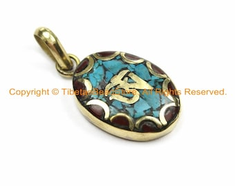 2 PENDANTS Tibetan OM Mantra Oval Charm Pendants with Brass, Turquoise & Coral Inlays - Nepalese Tibetan Pendants Tibetan Jewelry- WM6130-2