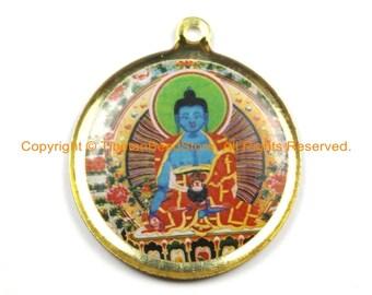 Reversible Tibetan Buddha & Kalachakra Pendant - Enamel Buddha Pendant Earring Supplies Jewelry Supplies Tibetan Pendant- WM6324