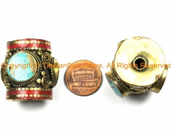 1 BEAD - LARGE Tibetan Brass Barrel Shape Tube Bead with 3-sided Turquoise Inlays & Coral Inlay- Big Ethnic Tibetan Focal Bead- B3105-1