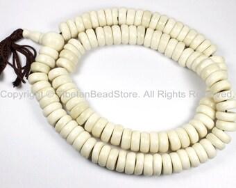 108 BEADS THICK Tibetan Flat Disc White Bone Mala Prayer Beads - 13mm x 5mm Natural Animal Bone Tibetan Disc Beads - PB129