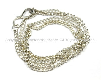 """17 inch Finished Silver Plated Chain 1mm S-Hook Clasp - 17""""-17.5"""" Silver Plated Chain from Nepal - CN40"""