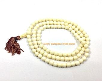 7mm Size White Bone Tibetan Mala Prayer Beads - 108 Beads - Beautiful Smooth Hand Selected Beads - Quality Bone Mala Prayer Beads - PB206