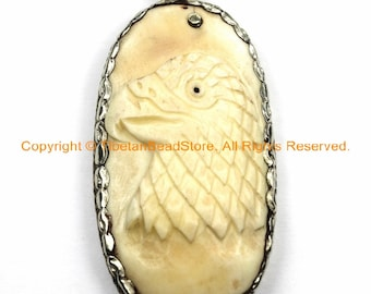 Unique Carved Bone Tibetan Eagle Bird Pendant with Repousse Carved Tibetan Silver Lotus Floral Details - Tibetan Pendant Jewelry - WM6115