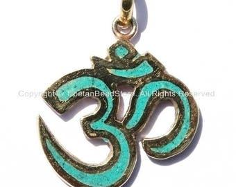 Sanskrit Om Pendant with Brass & Turquoise Inlay - Om Yoga Pendant - Boho OM Pendant - Tibetan Brass Pendant - WM1171