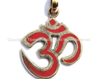 Tibetan Sanskrit OM Pendant with Brass & Coral Inlays - Om Aum Ohm -  Handmade Tibetan Om Yoga Jewelry - WM1172